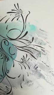 """Detail aus dem Zufallsprodukt """"Abschied"""". Zeichnung, Manuela Sies"""