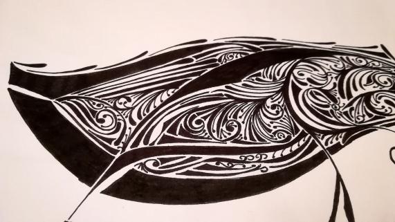 """Detail aus dem Zufallsprodukt """"Sanfte Waffe"""". Zeichnung, Manuela Sies."""