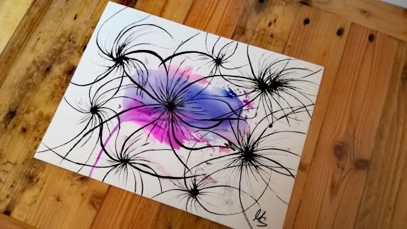 """Zufallsprodukt """"Restless Flowers"""". Zeichnung, Manuela Sies"""