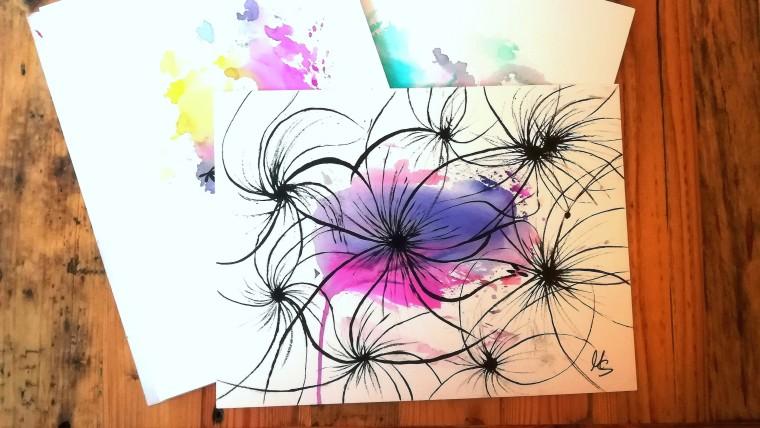 """Aus der Versuchswerkstatt im Garten: Zufallsprodukt """"Restless Flowers"""". Zeichnung, Manuela Sies"""