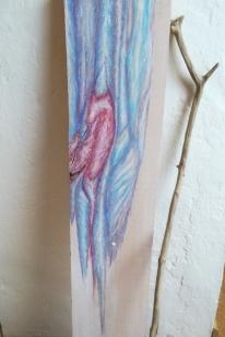 """""""Verletzlich und stark."""" Ölkreide auf wiederverwendetem Holz. Manuela Sies."""