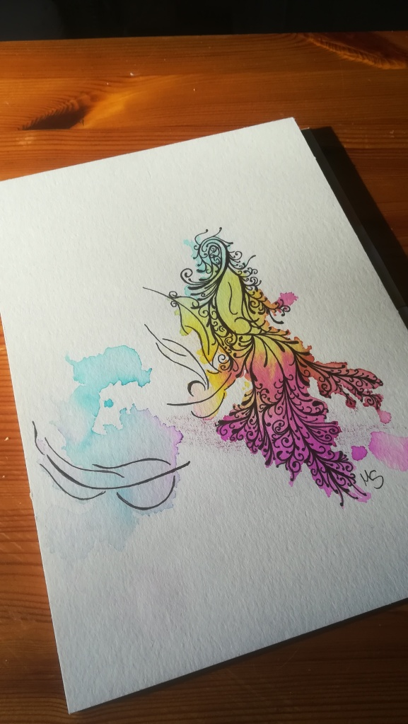"""Zufallsprodukt """"Freier Mut"""". Zeichnung, Manuela Sies/Ideenfülle"""