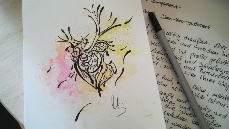 """Zufallsprodukt """"Dieses Herz"""". Zeichnung (2021), Manuela Sies/Ideenfülle"""