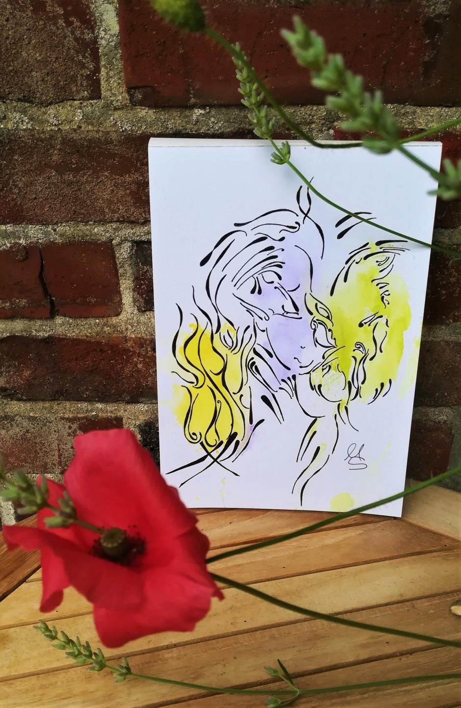 """Zufallsprodukt """"Stille Kriegerin"""". Zeichnung, (c) Manuela Sies/Ideenfülle 2021"""